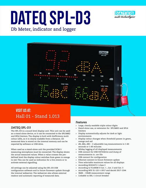 SPL-D3 decibel indicator en logger